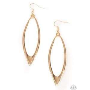 Asymmetrical Oval Hammered Gold Earrings
